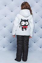 """Куртка+штаны для девочки """"Кот""""  белый, фото 3"""