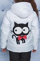 """Куртка+штаны для девочки """"Кот""""  белый, фото 2"""