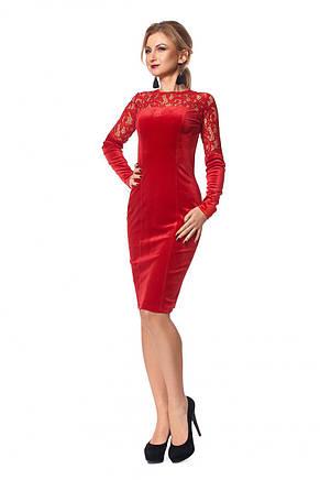 Нарядное модное стильное платье приталенного покроя с гипюровыми вставками., фото 2