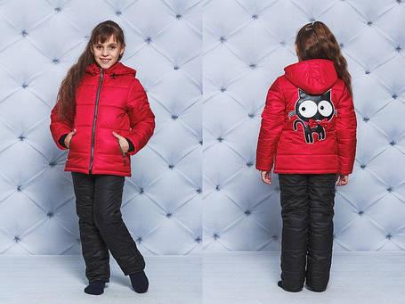 """Куртка+штаны для девочки """"Кот""""  красный, фото 2"""
