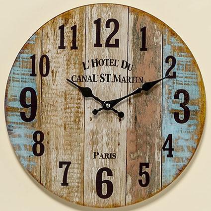 Настенные часы Шебби цветное лакированое стекло d34см