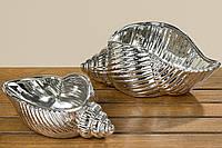 Декоративная тарелка Палине серебряная керамика L24см