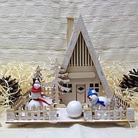 Новогоднее, рождественское украшение с подсветкой Домик снеговиков
