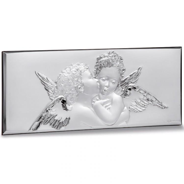 Декоративное панно серебрянное, Италия,эксклюзивный дизайн «Ангелы», Linea Argenti, 7,5х17,3 см.