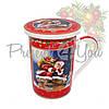 Кружка-заварник с фарфора и керамическим ситом  в подарочной коробке «Christmas Time», h-9,5 см, 350 мл , фото 2