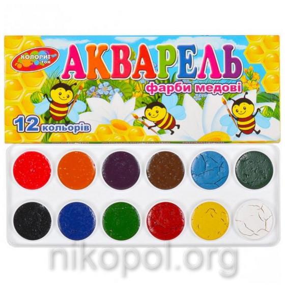 """Краски акварельные """"Колорит Тон"""" 12 цветов"""