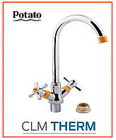 Смеситель для кухни Potato P4954-10 (высокий излив, буксовый), фото 1