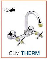 Смеситель для кухни Potato P4754-11 (высокий излив, буксовый)