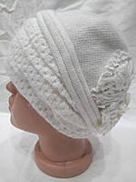 Женская шапка из ангоры с отделкой сзади Ажур белая