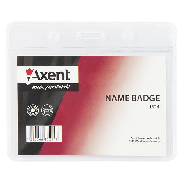 """Бейдж """"Axent""""  горизонтальный, прозрачный 4524-А"""