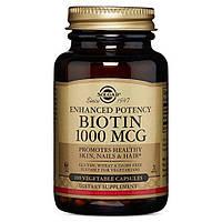 Биотин (Biotin) Solgar, 1000 мкг, 100 капсул, фото 1