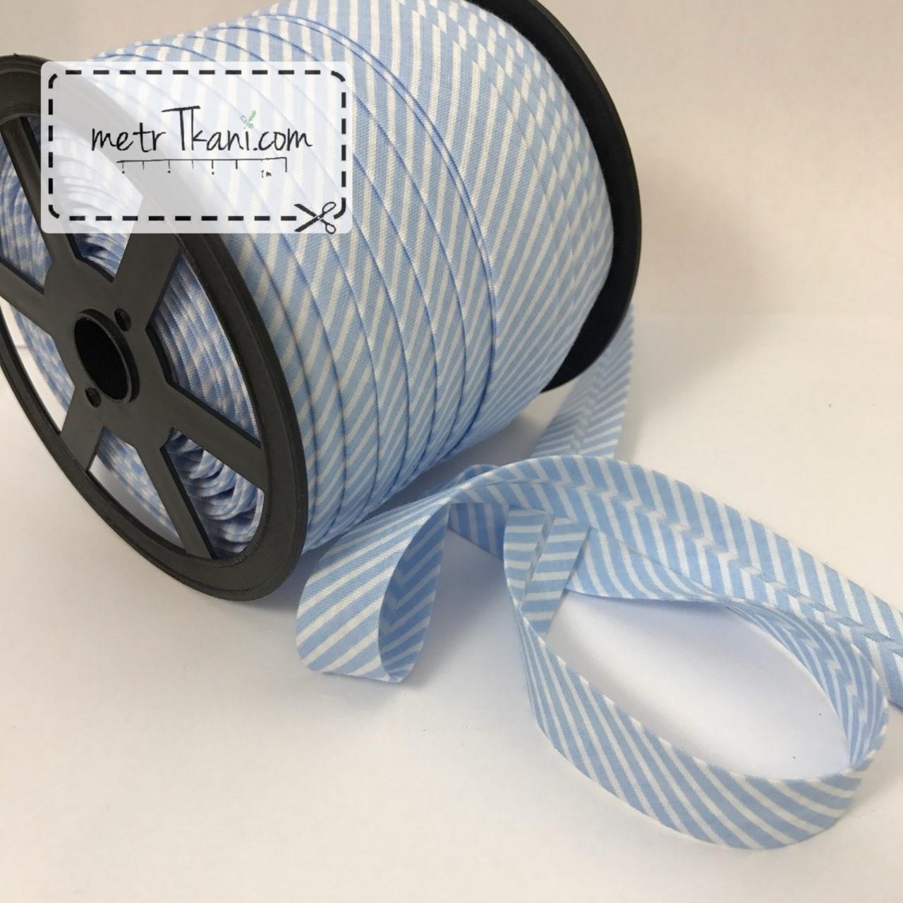 Косая бейка из хлопка с голуба полоской 2мм № КБ-187