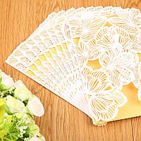Ажурные свадебные открытки(приглашения) лазерной резки, 10 шт. (цвет: белый)