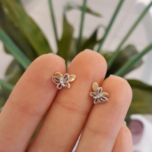 Серьги Бабочки золото 585 - Пусеты Бабочки фото 3