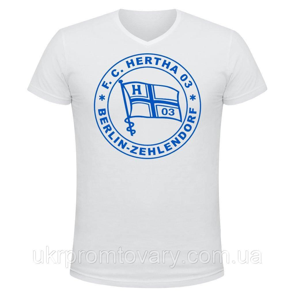 Футболка мужская V-вырезом - Hertha logo, отличный подарок купить со скидкой, недорого