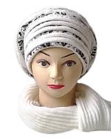 Комплект женский вязаный берет и шарф Liona шерсть с ангорой цвет белый