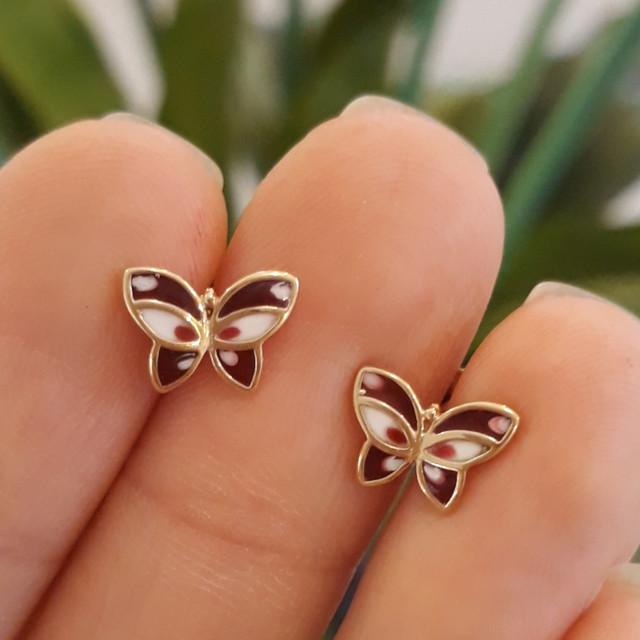 Золотые серьги-пусеты, серьги гвоздики Бабочки с эмалью фото