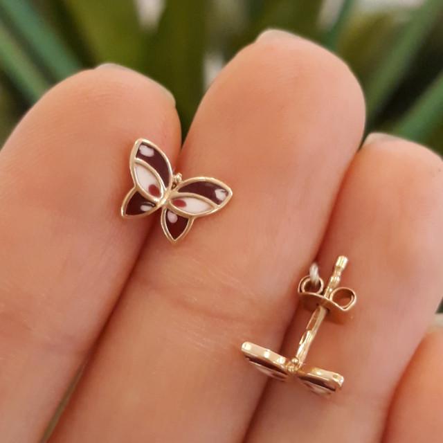 Золотые серьги-пусеты, серьги гвоздики Бабочки с эмалью фото 1