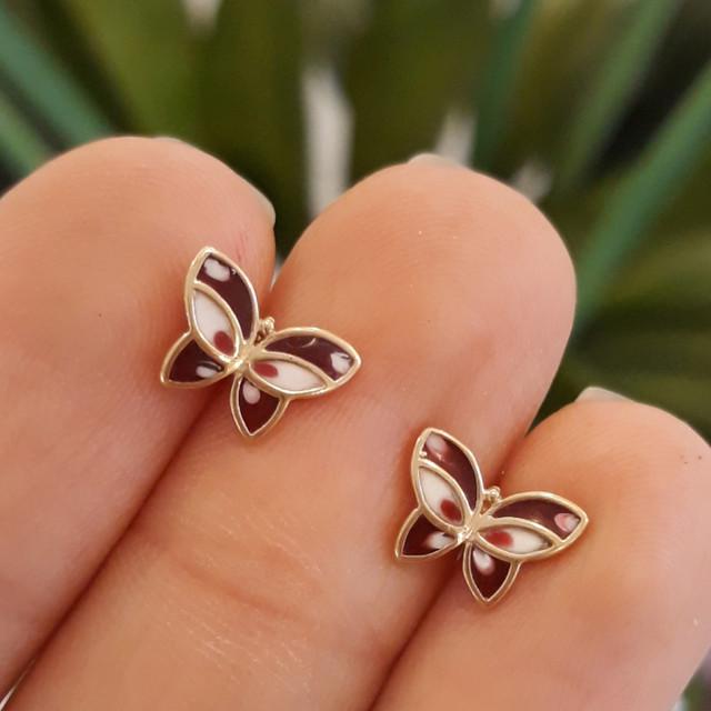 Золотые серьги-пусеты, серьги гвоздики Бабочки с эмалью фото 2