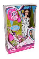 Кукла типа Barbie беременная с младенцем,дочкой, коляской и ходунками