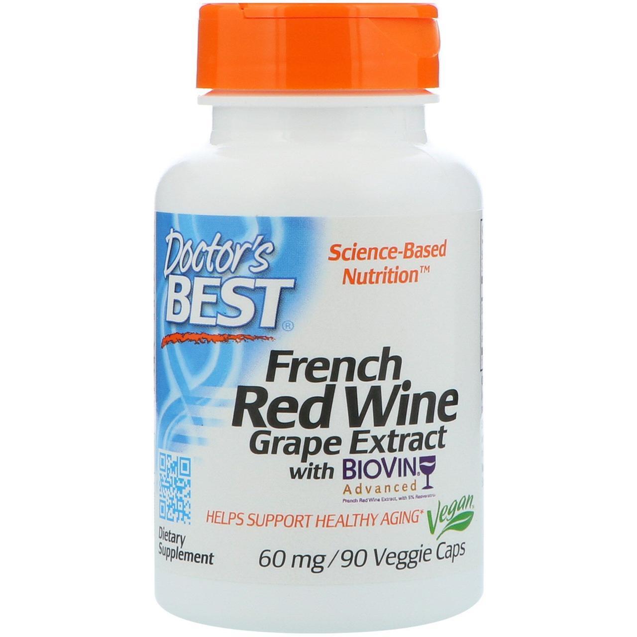 Экстракт французского красного винограда Doctor's Best, 60 мг, 90 капсул