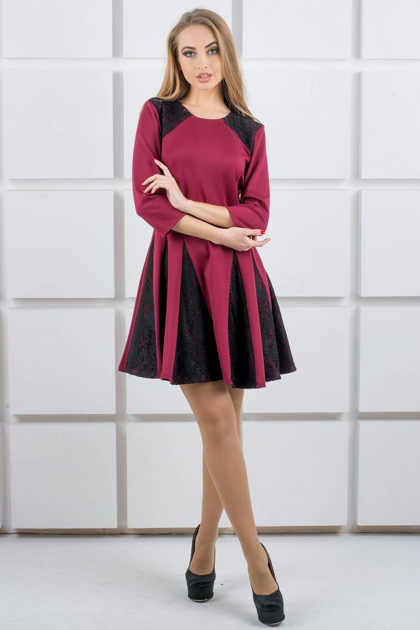Женское молодежное комбинированое платье Хэлли / размер 44,46 цвет бордо