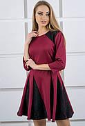 Женское молодежное комбинированое платье Хэлли / размер 44,46 цвет бордо, фото 4