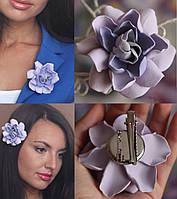 """Подарок девушке Заколка/брошь цветок """"Серо-сиреневая гардения"""", фото 1"""
