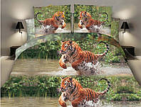 """3D Двуспальное постельное белье """"Ranforce"""" - Тигры"""
