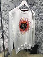 Мужской свитшот Gucci Angry Cat Appliqué White, Копия