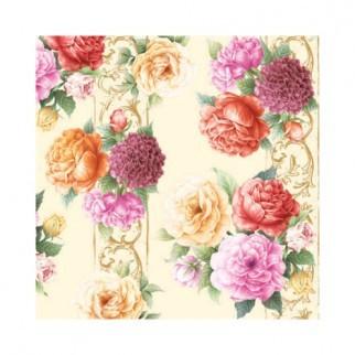 """Салфетка 33х33см (20шт) """"Цветочная симфония:розы и пионы"""" кремовый"""