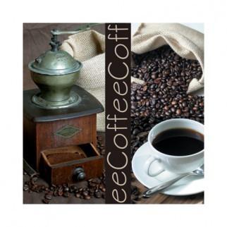 """Салфетка 33х33см (20шт) """"Kофе-клуб. Кофе в зернах, чашка, кофемолка."""" фото"""
