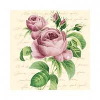 """Салфетка 33х33см (20шт) """"Ветка розы"""" кремовый"""