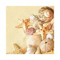 """Салфетка 33х33см (20шт) """"Морские раковины и звезды на песке"""""""