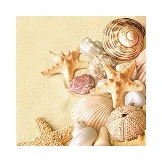 """Салфетка 33х33см (1шт) """"Морские раковины и звезды на песке"""""""