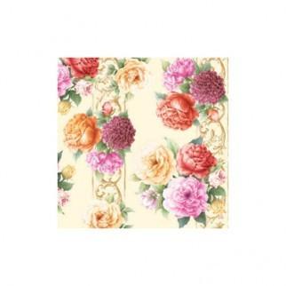 """Салфетка 25х25см (20шт) """"Цветочная симфония:розы и пионы"""" кремовый"""