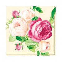 "Салфетка 33х33см (20шт) ""Красавицы розы. Букет"" шампанское"