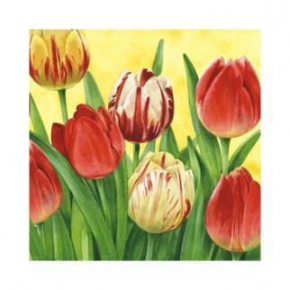 "Салфетка 33х33см (20шт) ""Тюльпаны"" желтый"