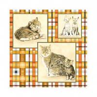"""Салфетка 33х33см (1шт) """"Картинки с кошками"""" клетка"""