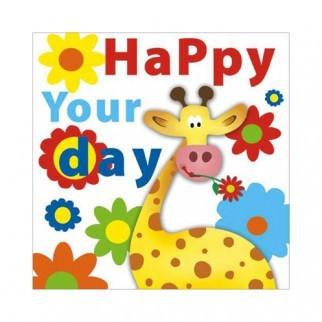 """Салфетка 33х33см (1шт) """"HAPPY YOUR DAY"""" веселый жираф и цветы"""