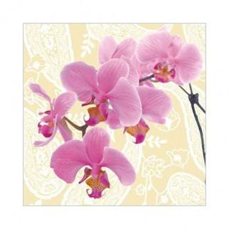 """Салфетка 33х33см (1шт) """"Ветка орхидеи"""" кремовый"""