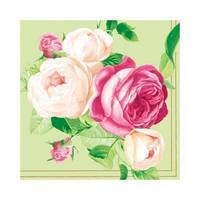 "Салфетка 33х33см (20шт) ""Красавицы розы. Букет"" зеленый"