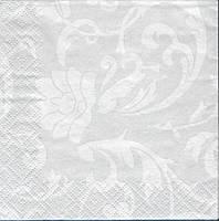 """Салфетка 25х25см (1шт) """"Белые фантазии"""" светлое серебро"""