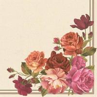 """Салфетка 40х40см (20шт) Цветочная композиция""""Catherine""""(угловая) кремовый"""