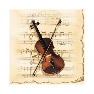 """Салфетка 33х33см (1шт) """"Скрипка и смычек на фоне нот"""" кремовый"""