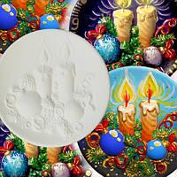 """""""Свечи Новый год Рождество"""" тарелка с 3D изображением для детского творчества"""