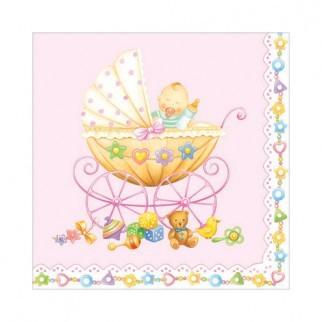 "Салфетка 33х33см (20шт) ""Коляска с младенцем"" розовая"