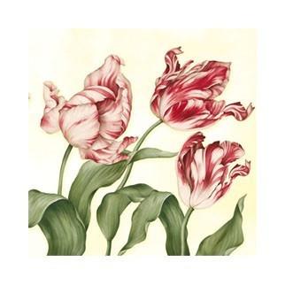 """Салфетка 33х33см (20шт) """"Тюльпаны"""" бежевый"""