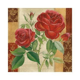 """Салфетка 33х33см (20шт) """"Ветка красной розы"""""""