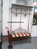 Кованая напольная вешалка с диванчиком